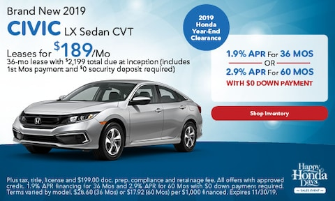 Brand New 2019 CIVIC LX Sedan CVT