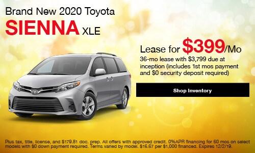 2020 Toyota Sienna XLE - Lease