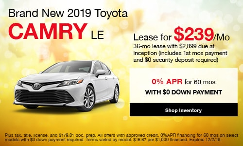 2019 Toyota Camry LE - Lease