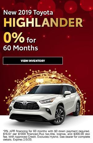 2019 Toyota Highlander - 0% for 60 Months