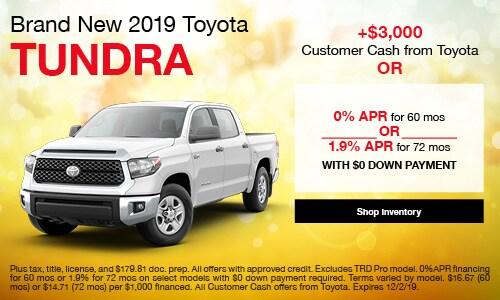 2019 Toyota Tundra - APR and Customer Cash