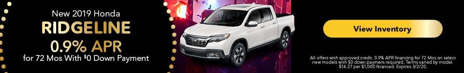 2019 Honda Ridgeline - 0.9% APR
