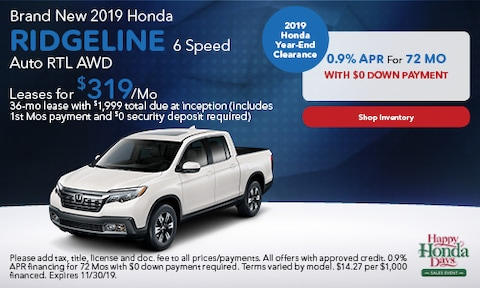 2019 Honda Ridgeline 6 Speed Auto RTL AWD - Lease