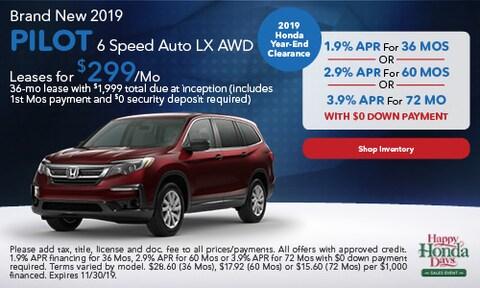 2019 Honda Pilot 6 Speed Auto LX AWD - Lease