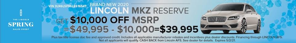 Brand New 2020 LINCOLN MKZ RESERVE VIN 3LN6L5F96LR616547