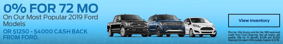0% APR on Most Popular 2019 Ford Models