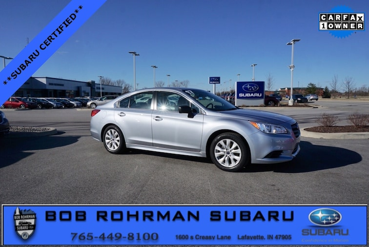 Certified Pre-Owned 2017 Subaru Legacy 2.5i Sedan for sale in Lafayette, IN at Bob Rorhman Subaru