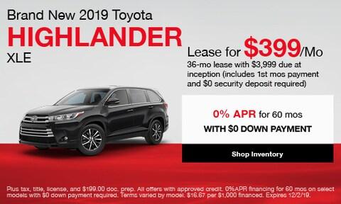 Brand New 2019 Toyota Highlander XLE