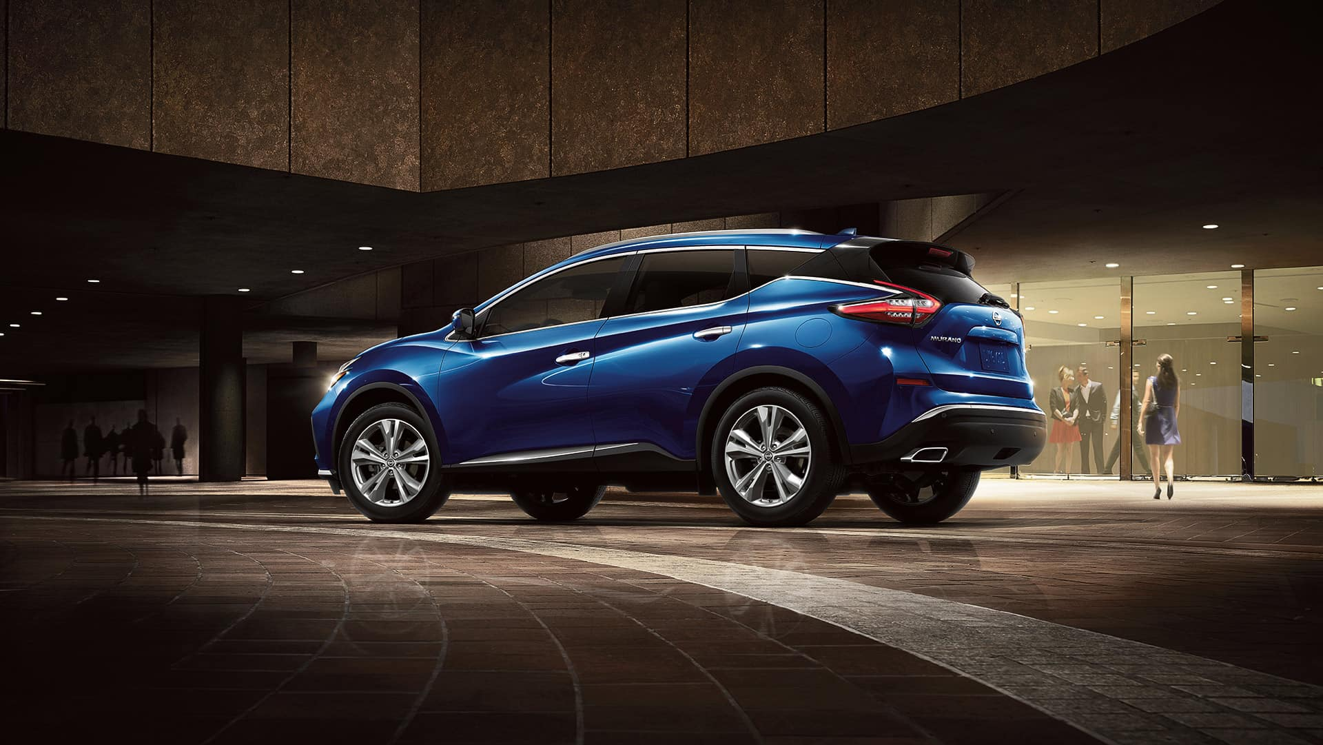 Boch Nissan is a Car Dealership near Canton, MA | Blue 2020 Nissan Murano parked in the dark