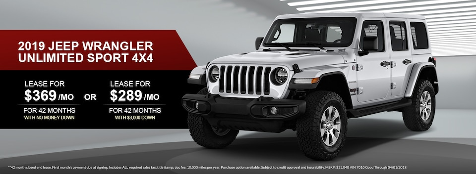 2019 Jeep Wrangler Unlimited Sport 4X4 Lease Special