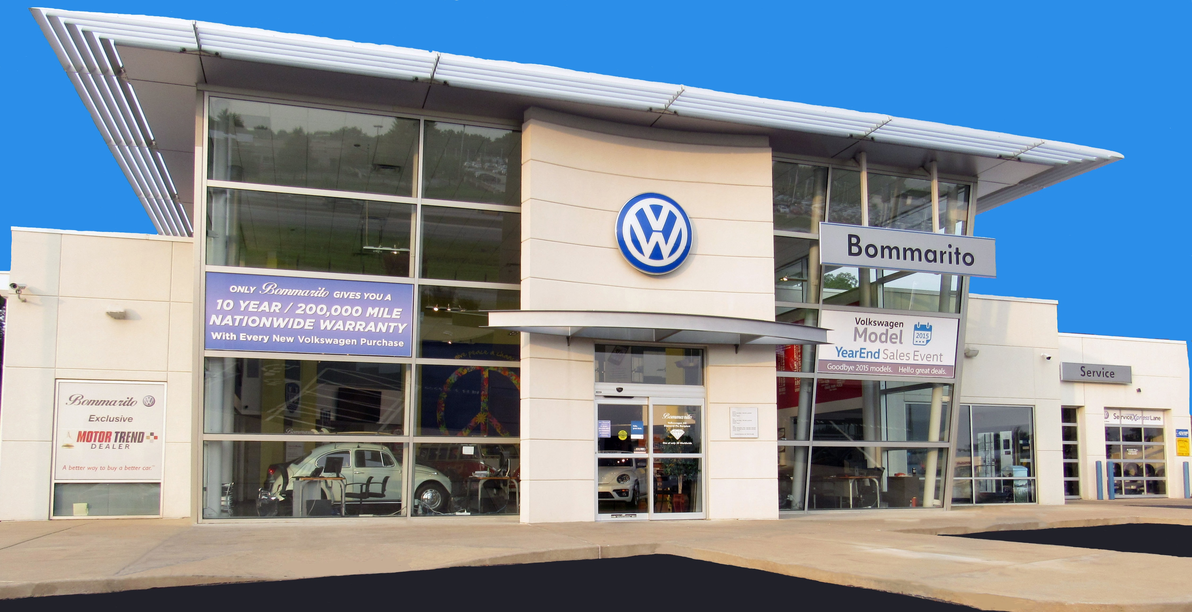 Front view of Bommarito VW Hazelwood dealership.