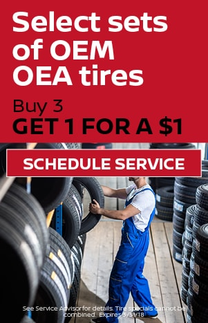 Buy 3 get 1 for a $1 Tires