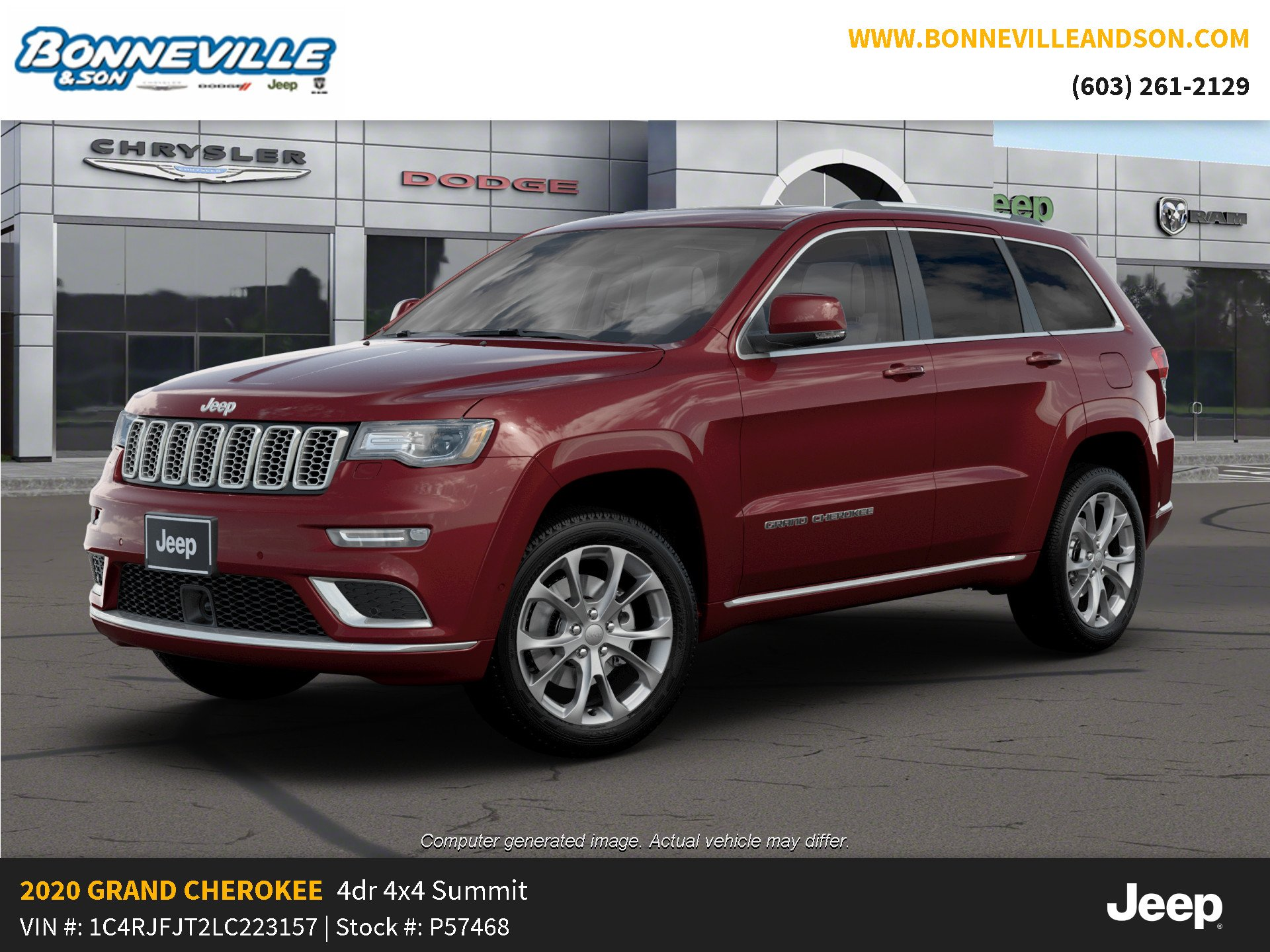 New 2020 Jeep Grand Cherokee SUMMIT 4X4 Sport Utility in Manchester, NH