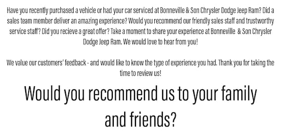 Bonneville And Son >> Review Us Bonneville And Son Chrysler Dodge Jeep Ram
