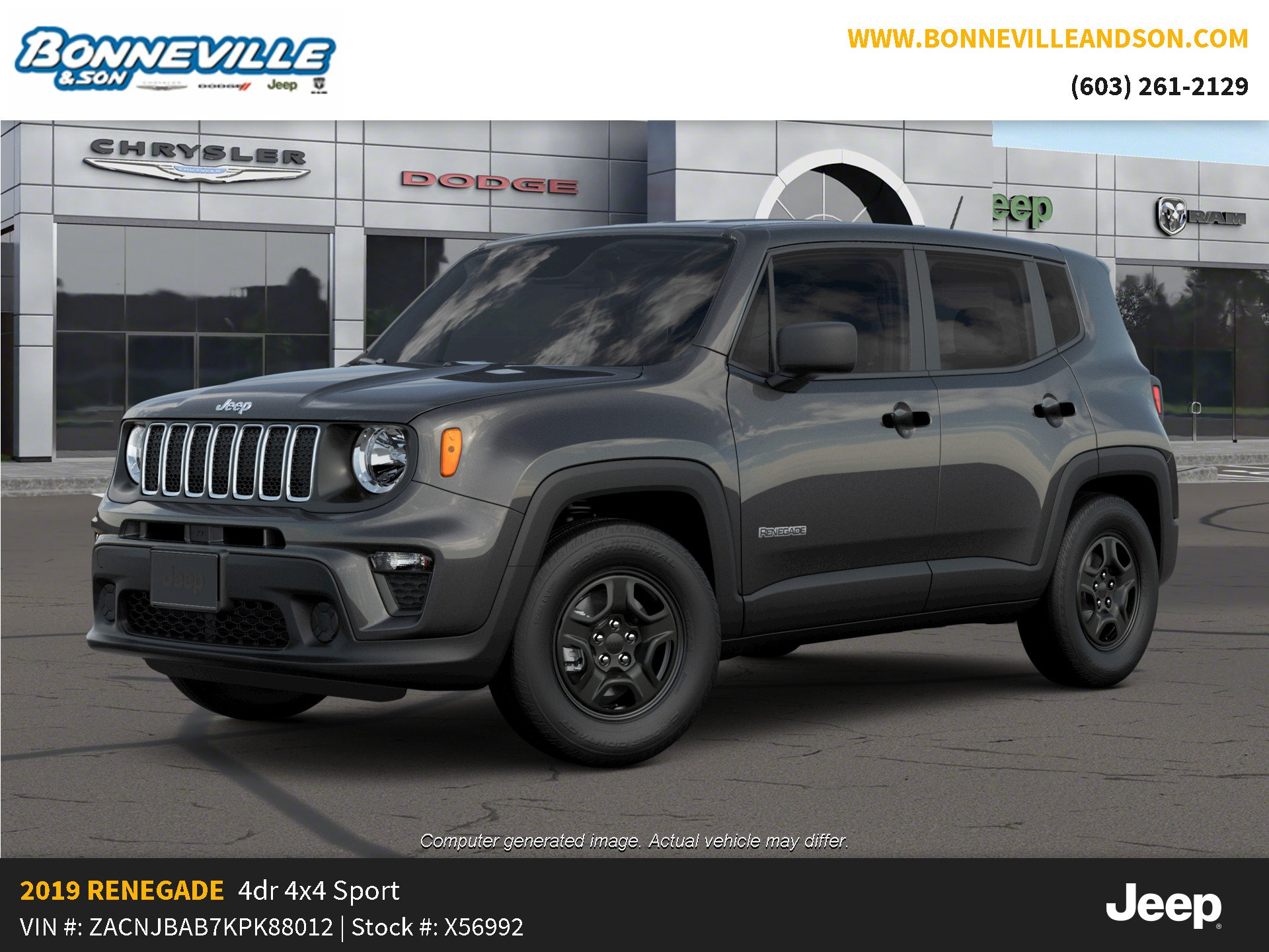 New 2019 Jeep Renegade SPORT 4X4 Sport Utility in Manchester, NH