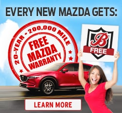 Every New Mazda from Borgman comes with a FREE 20-Year 200,000 Mile Warranty!