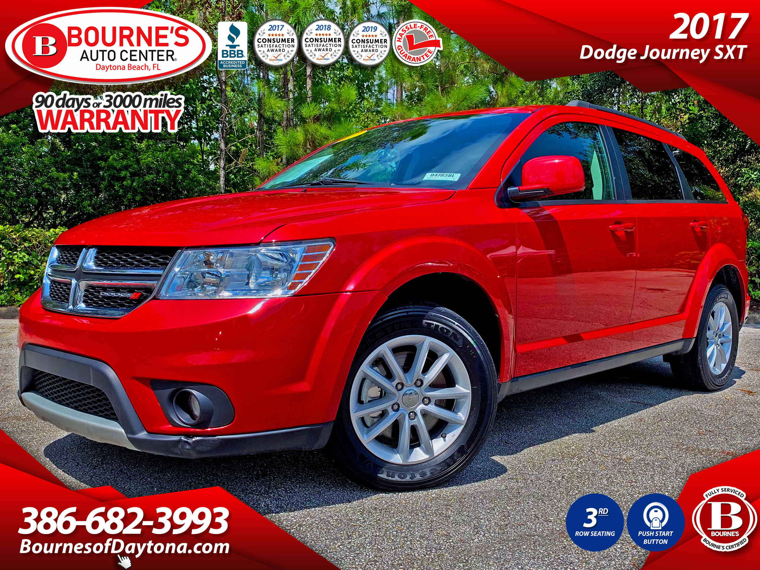 2017 Dodge Journey SXT w/3rd Row Seating, Push Start Button SUV
