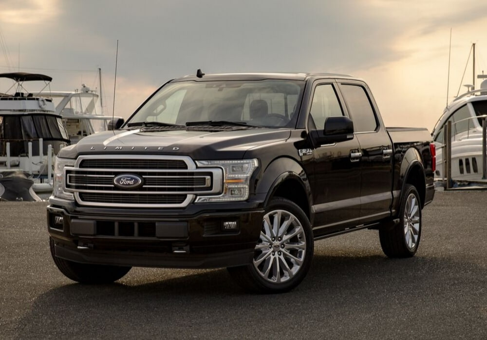 Front exterior of a 2020 Ford F-150 parked in a marina