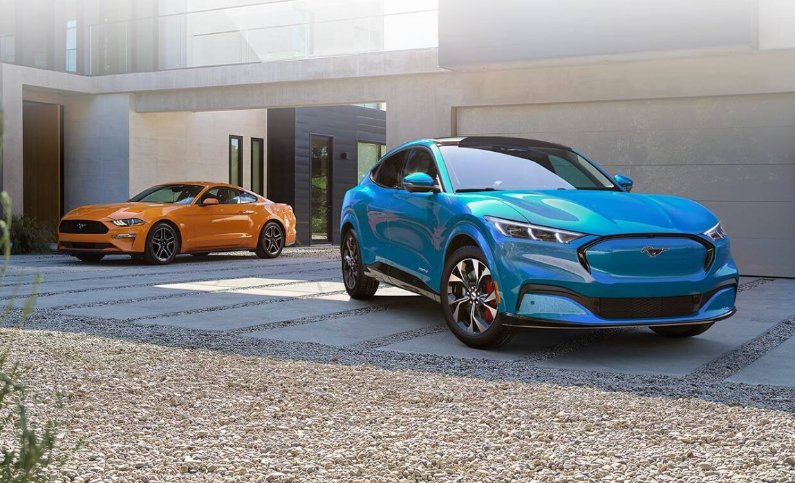 2021 Ford Mustang Mach-E EV exterior compared to the 2020 Ford Mustang
