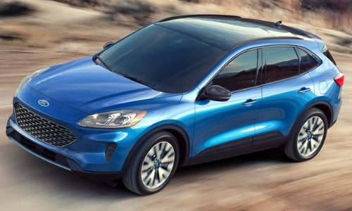 2020 Ford Escape blue top aerial view motion desert scene