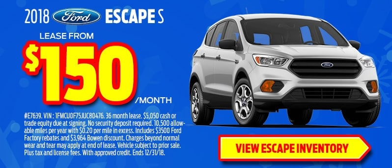 2018 Ford Escape for $150 a month