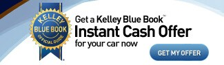 Kelley Blue Book banner asking you to value your trade near Seattle at Bowen Scarff Ford in Kent for an instant cash offer