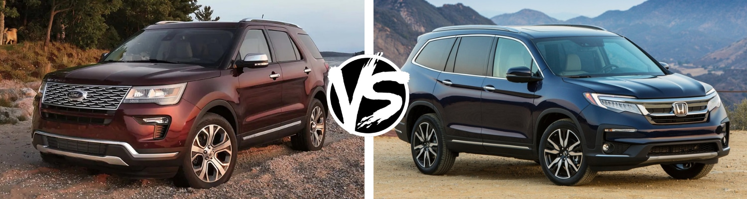 Head to head view of a 2019 Ford explorer compared to the 2019 Honda Pilot