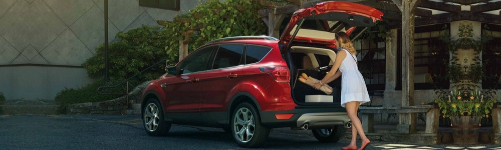 Back driver side angle of a red 2019 Ford Escape SUV parked outside a store with the driver putting groceries into the back of the Ford SUV