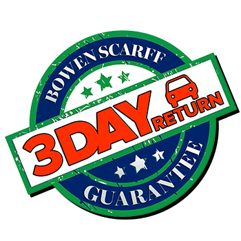 A promo sticker promoting the 3 day 72 hour return guarantee at Bowen Scarff Ford in Kent, WA near Seattle