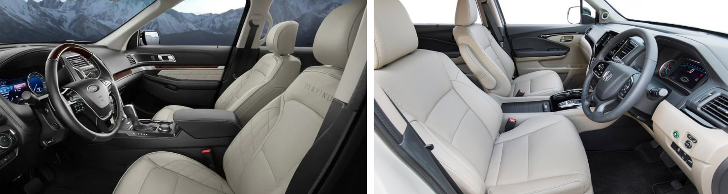 Comparison view of the 2019 Ford Explorer interior to the 2019 Honda Pilot interior