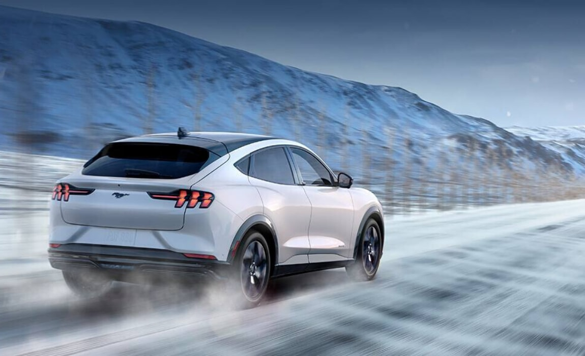 2021 Ford Mustang Mach-E EV powering through the snow