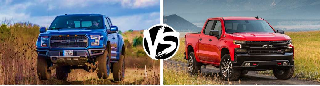 Royal Blue 2019 Ford F-150 vs Hot Red Chevy Silverado parked off and on a desert dirt with clouds and mountains behind them