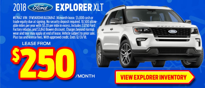 2018 Ford Explorer Lease Special $250 a month