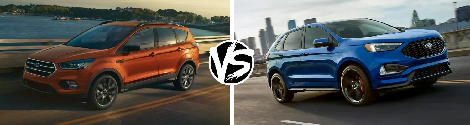Back to back view comparing the 2019 Ford Escape to the 2019 Ford Edge