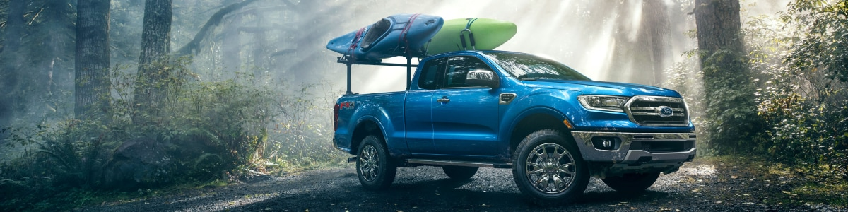 New Ford Ranger with a kayak