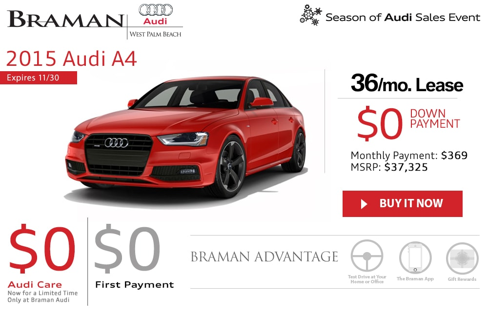 New Audi A Lease Specials Palm Beach South Florida Audi Dealership - Audi a4 lease
