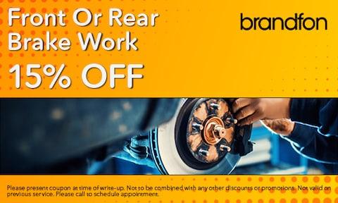 15% Off Front or Rear Brake Work