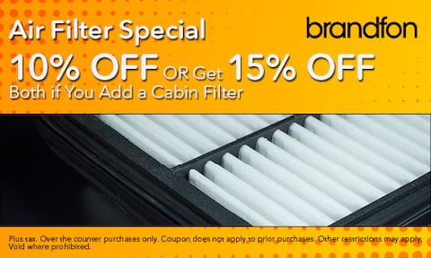 10% Off Air Filter or 15% Off Air & Cabin Filters