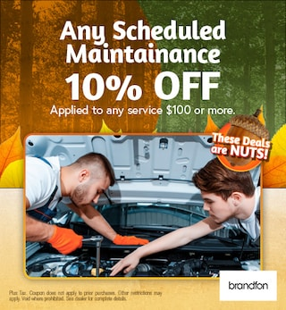 Any Scheduled Maintenance Service 10% services $100 or more