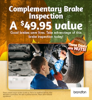 Complimentary brake inspection a $49.95 value!