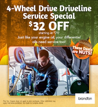 4-Wheel Drive Driveline Service Special $32 off