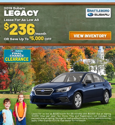 September - 2019 Subaru Legacy
