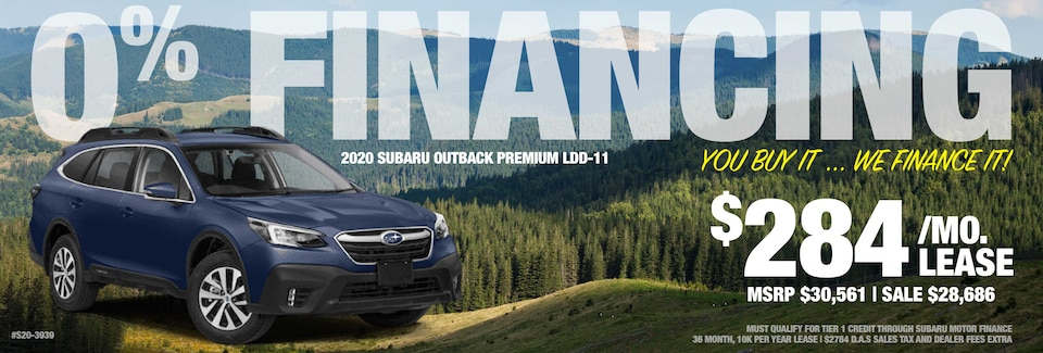 0% Financing on 2020 Outback Premium