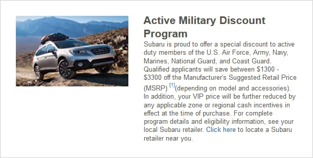 Subaru Active Military Discount