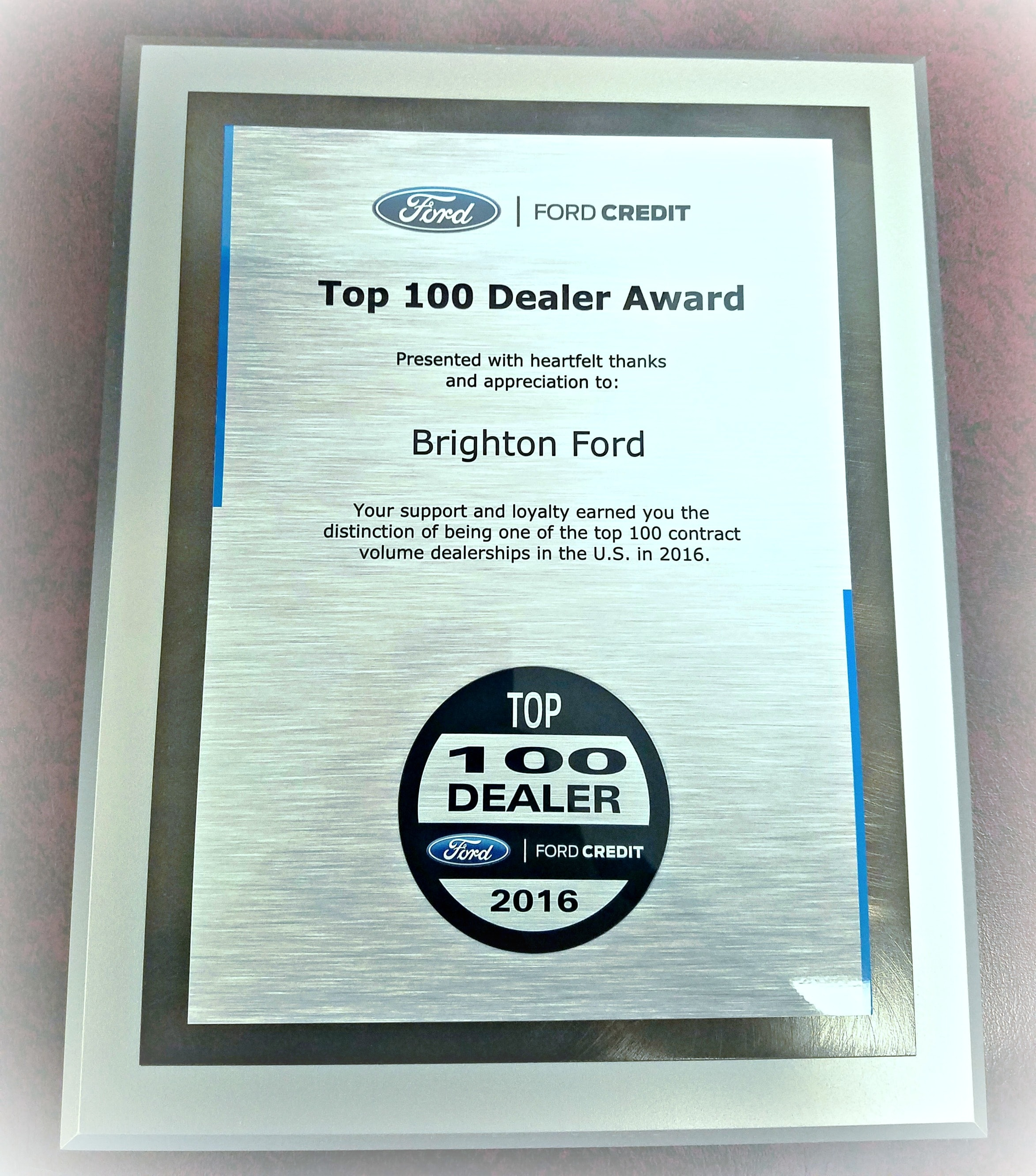 Brighton Ford | Brighton Ford Is Awarded Top 100 Ford Credit Volume ...