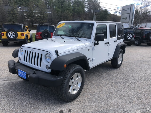 Featured Pre-Owned 2018 Jeep Wrangler JK Unlimited Sport S SUV for sale in Rutland, VT at Brileya's Chrysler Jeep