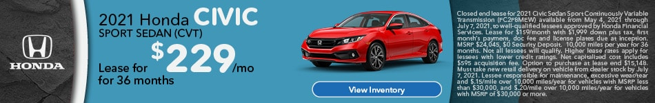 2021 Honda Civic Sport Sedan (CVT)