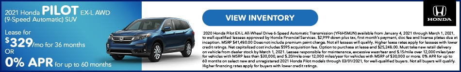 2021 Honda Pilot EX-L AWD (9-Speed Automatic) SUV January