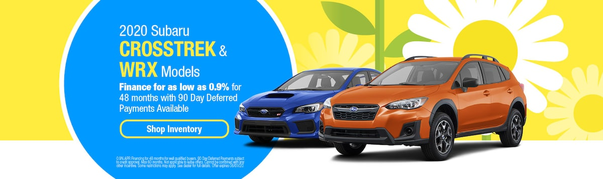 0.9% Financing on 2020 Subaru Crosstrek & WRX