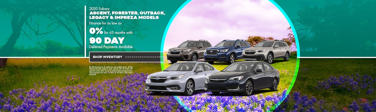 0% Financing On Subaru Impreza, Legacy, Forester, Outback & Ascent